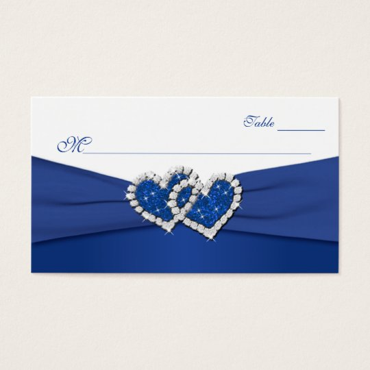 Royal Blue and White Joined Hearts Placecards Business