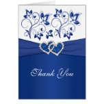 Royal Blue and White Joined Hearts Thank You Card