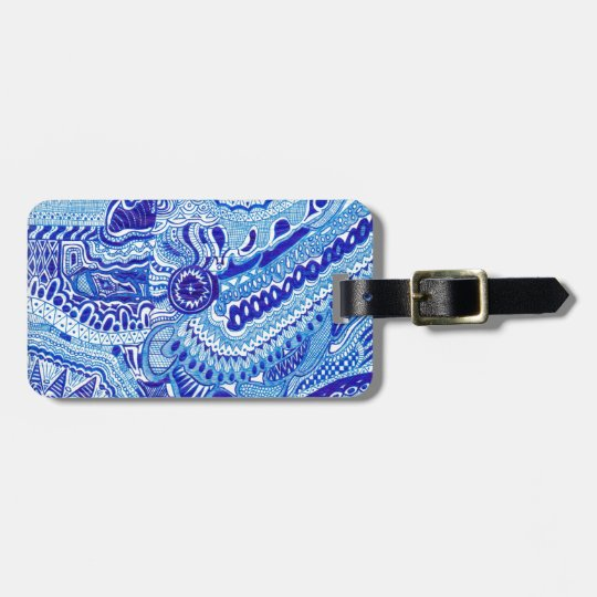 Royal Blue and White Ming style pattern art Luggage Tag