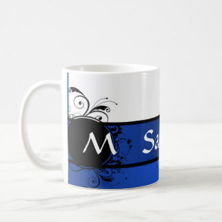 Royal blue and white monogram basic white mug