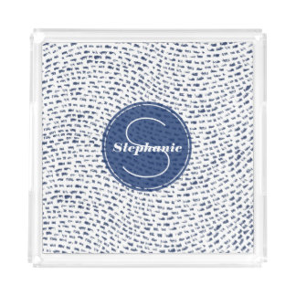 Royal Blue and white Monogram Dash Lines Pattern Acrylic Tray