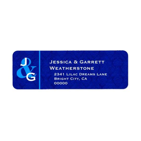 Royal Blue and White Monogram Wedding V005 Return Address Label