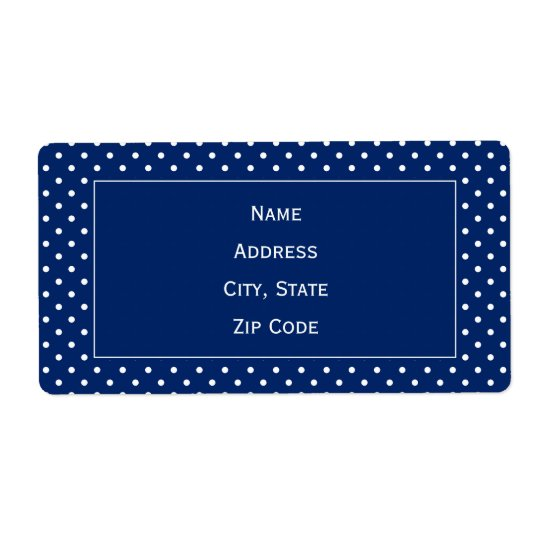 Royal Blue and White Polka Dot Pattern Shipping Label