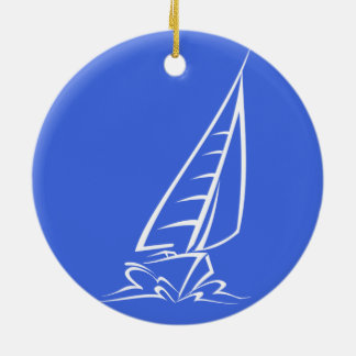 Royal Blue and White Sailing; Sail Boat Christmas Ornament