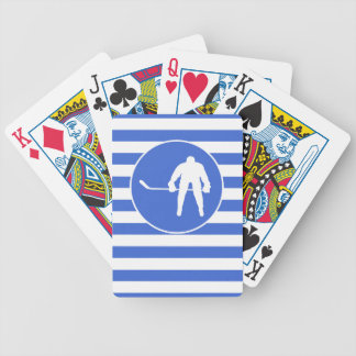Royal Blue and White Stripes; Hockey Bicycle Playing Cards
