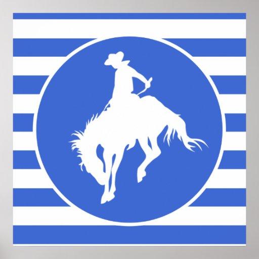 Royal Blue and White Stripes; Rodeo Cowboy Print