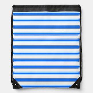 Royal Blue and White Stripes; Striped Drawstring Bag