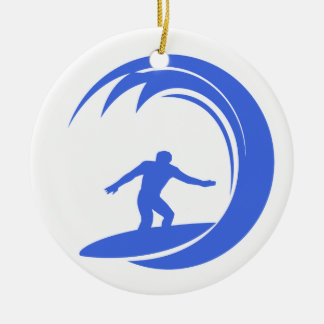 Royal Blue and White Surfing Christmas Ornament