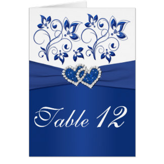 Royal Blue and White Table Number Card