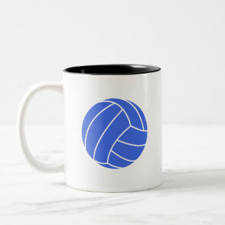 Royal Blue and White Volleyball Two-Tone Coffee Mug
