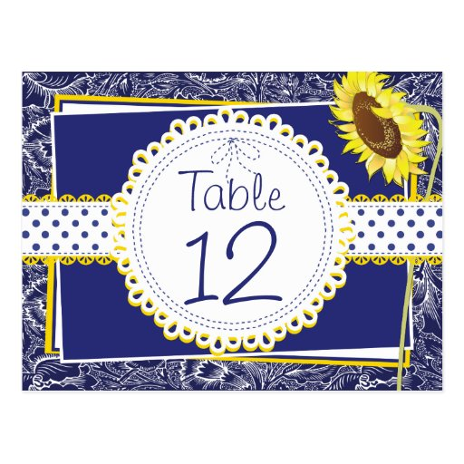 Royal Blue and Yellow Sunflowers Table Card Postcards