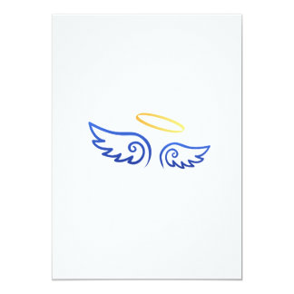 """Royal Blue Angel wings with Halo 5"""" X 7"""" Invitation Card"""
