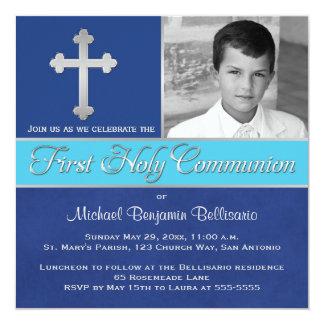 Royal Blue, Aqua 1st Holy Communion Photo Invite 2