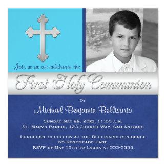 Royal Blue, Aqua 1st Holy Communion Photo Invite