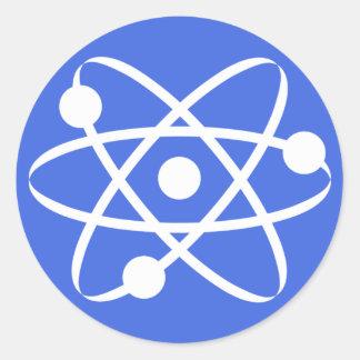 Royal Blue Atom Classic Round Sticker