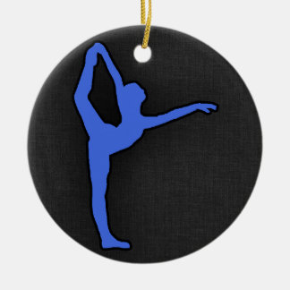 Royal Blue Ballet Dancer Round Ceramic Decoration