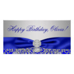 Royal Blue Birthday Party Banner Poster