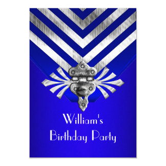 Royal Blue Birthday Party Silver Stripe Card
