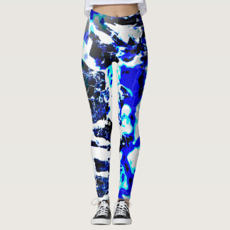 """Royal Blue, Black, and White """"Stumped"""" Abstract Leggings"""