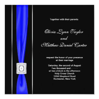 Royal Blue Black Blue Bow Wedding 13 Cm X 13 Cm Square Invitation Card