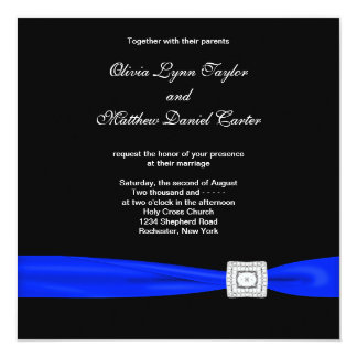 Royal Blue Black Blue Wedding 13 Cm X 13 Cm Square Invitation Card