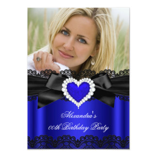 Royal Blue Black Lace Diamond Heart Birthday Personalized Announcements