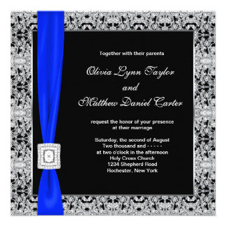 Royal Blue Black Lace Wedding Custom Announcement
