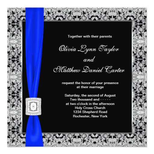 Royal Blue Black Lace Wedding Custom Announcement