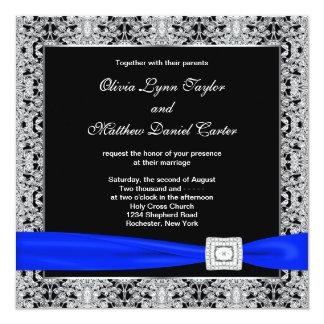 Royal Blue Black Silver Lace Wedding 13 Cm X 13 Cm Square Invitation Card