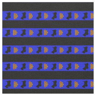 Royal blue, black stripe, Scottish Terrier heart Fabric