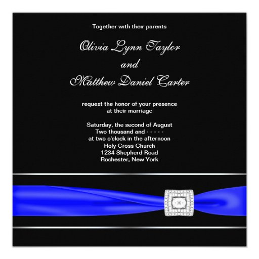 Royal Blue Black Wedding Invitations