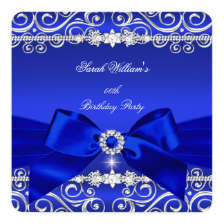 Royal Blue Bow Birthday Party Black Silver 5.25x5.25 Square Paper Invitation Card
