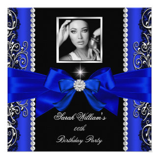 Royal Blue Bow Birthday Party Black Silver Photo 2 Invites