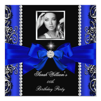 Royal Blue Bow Birthday Party Black Silver Photo 2 Invites