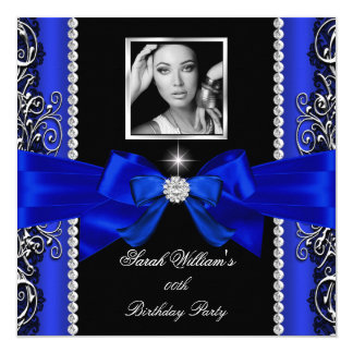Royal Blue Bow Birthday Party Black Silver Photo 2 13 Cm X 13 Cm Square Invitation Card