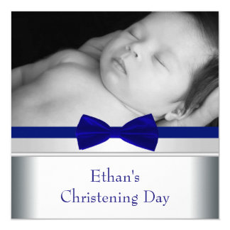 Royal Blue Bow Tie Baby Boy Photo Christening 13 Cm X 13 Cm Square Invitation Card