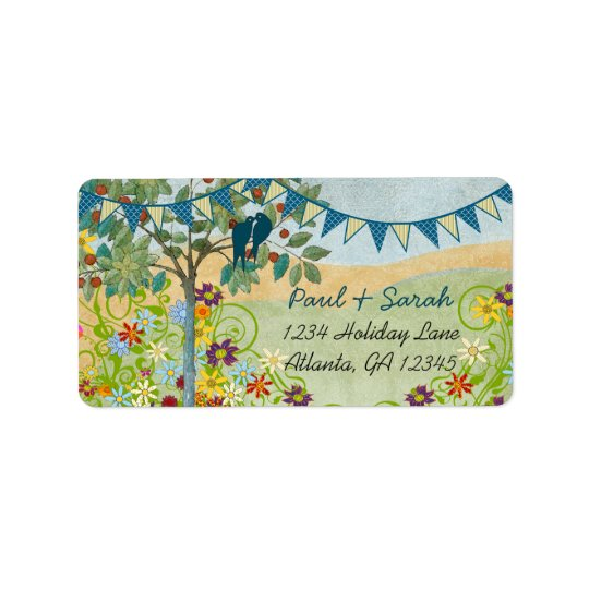 Royal Blue Bunting Vintage Love Birds Damask Hills Address Label