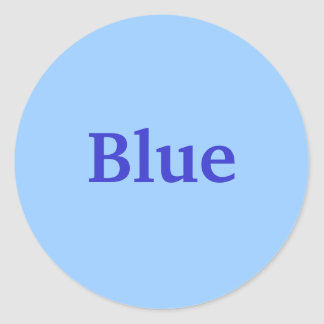Royal Blue Color Word on Light Blue Stickers