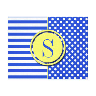 Royal Blue Combination Polka Dots And Stripes Gallery Wrapped Canvas
