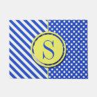 Royal Blue Combination Polka Dots And Stripes Doormat