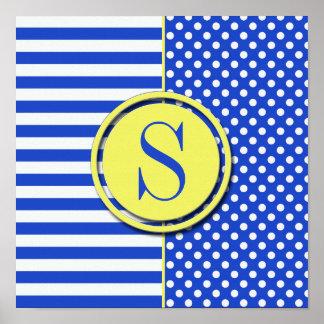 Royal Blue Combination Polka Dots And Stripes Poster