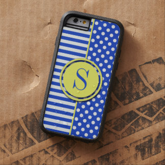 Royal Blue Combination Polka Dots And Stripes Tough Xtreme iPhone 6 Case