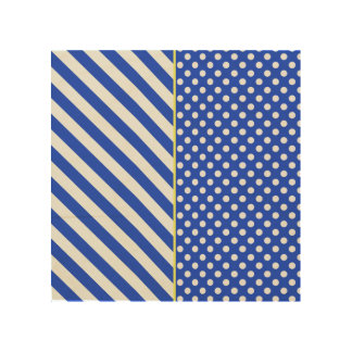 Royal Blue Combination Polka Dots And Stripes Wood Canvases