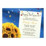 Royal Blue Confetti Sunflowers Retirement Party 5x7 Paper Invitation Card