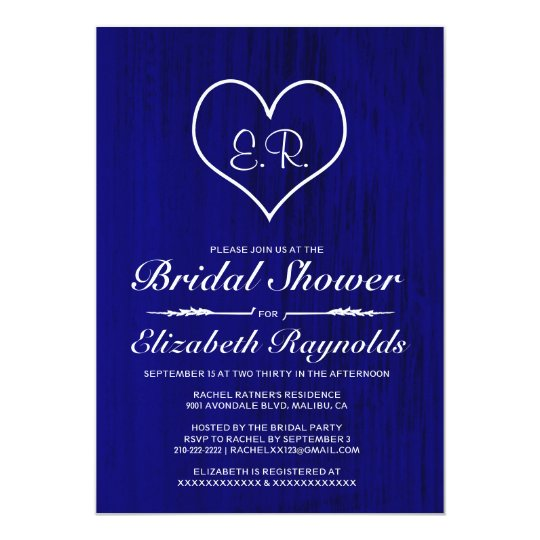Royal Blue Country Bridal Shower Invitations