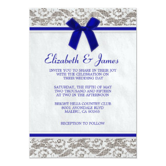 Royal Blue Country Lace Wedding Invitations