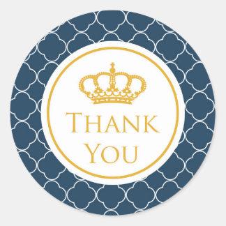 Royal Blue Crown Thank You Sticker