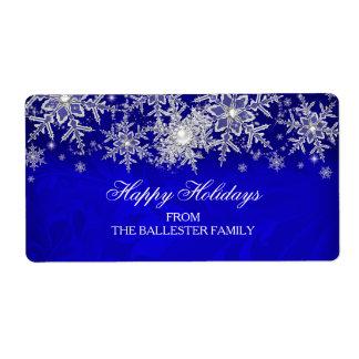 Royal Blue Crystal Pearl Snowflake Happy Holidays