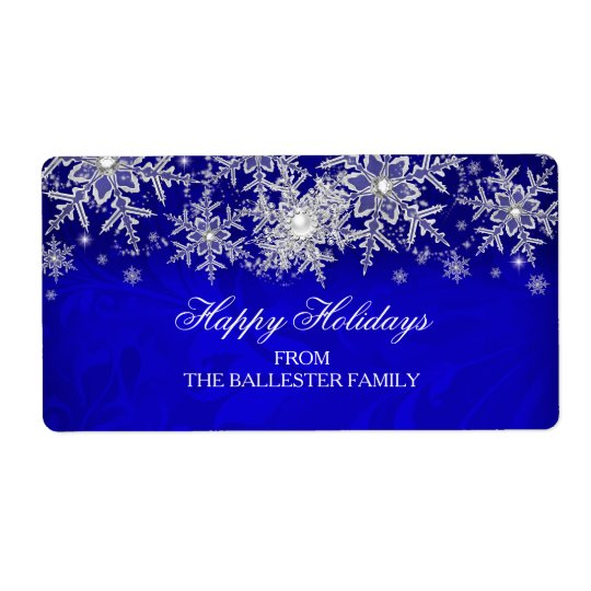 Royal Blue Crystal Pearl Snowflake Happy Holidays Shipping Label