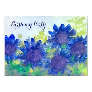 Royal Blue Daisy Flowers 80th Birthday Party 13 Cm X 18 Cm Invitation Card